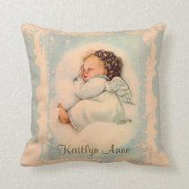 Vintage Religious Sleeping Baby Guardian Angel Throw Pillow