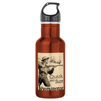 Vintage Remington Rifle Quick Sure Ad Stainless Steel Water Bottle