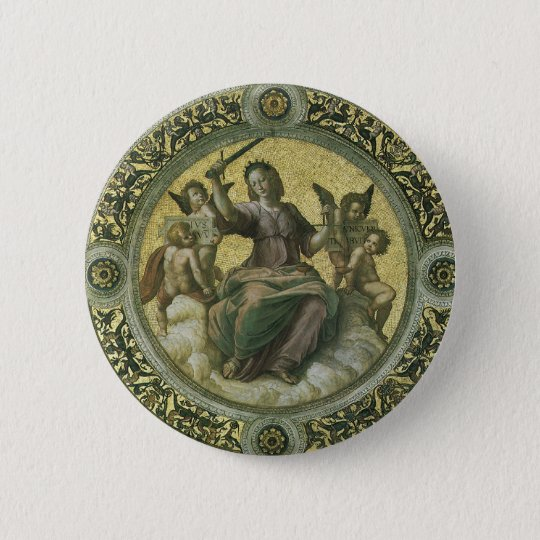 Vintage Renaissance Art, Justice by Raphael Button