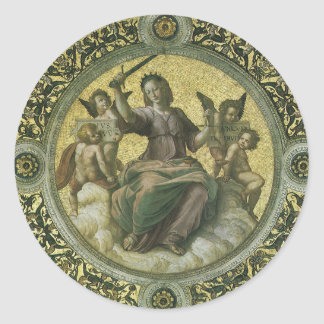 Vintage Renaissance Art, Justice by Raphael Classic Round Sticker