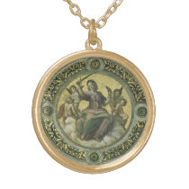 Vintage Renaissance Art, Justice by Raphael Gold Finish Necklace
