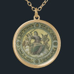 """Vintage Renaissance Art, Justice by Raphael Gold Plated Necklace<br><div class=""""desc"""">Justice (1509-1511) by Raphael Sanzio,  Raffaello (1483-1520) is a vintage Renaissance Era fine art portrait painting. A woman holding a sword,  sitting on a cloud and surrounded by angels. A ceiling fresco from the Stanza della Segnatura (&quot;Room of the Signatura&quot;) in the Vatican.</div>"""