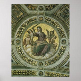 Vintage Renaissance Art, Justice by Raphael Poster