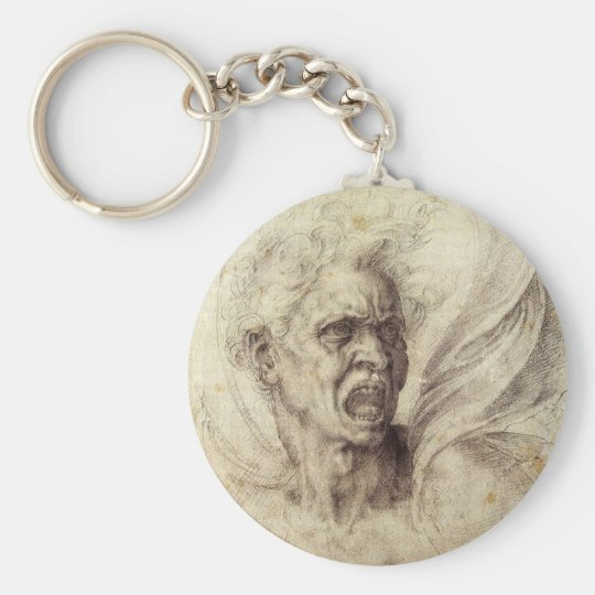 Vintage Renaissance, Damned Soul by Michelangelo Keychain