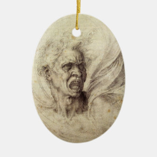 Vintage Renaissance, Damned Soul by Michelangelo Double-Sided Oval Ceramic Christmas Ornament