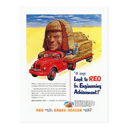 Vintage REO Truck Ad Post Card