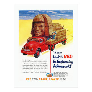 Vintage REO Truck Ad Postcard