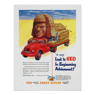 Vintage REO Truck Ad Poster