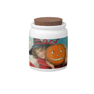 Vintage Repoduction Halloween Picture Candy Jars