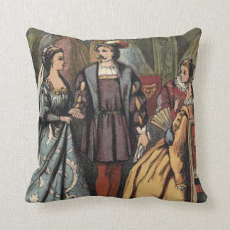Vintage reprint: Visiting the Queen Throw Pillow
