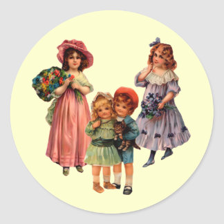 Vintage Reproduction Victorian Children Sticker