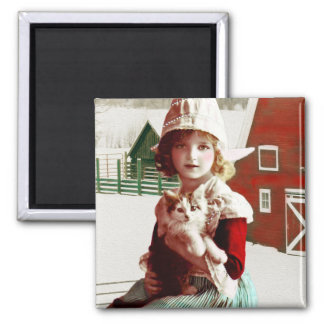 Vintage Rescued Barn Kitty Magnet