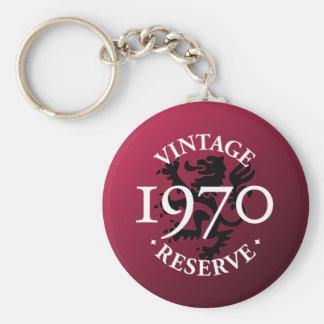 Vintage Reserve 1970 Basic Round Button Keychain