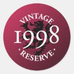 Vintage Reserve 1998 Classic Round Sticker