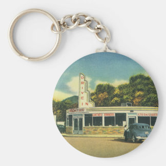 Vintage Restaurant, 50s Drive In Diner and Cars Keychain