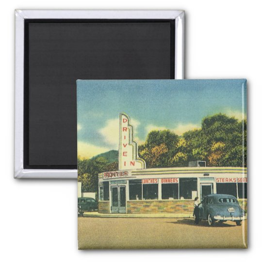 Vintage Restaurant, 50s Drive In Diner and Cars Magnet