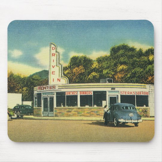 Vintage Restaurant, 50s Drive In Diner and Cars Mouse Pad
