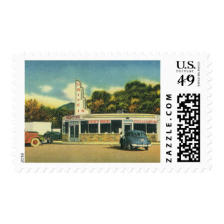 Vintage Restaurant, 50s Drive In Diner and Cars Postage Stamps