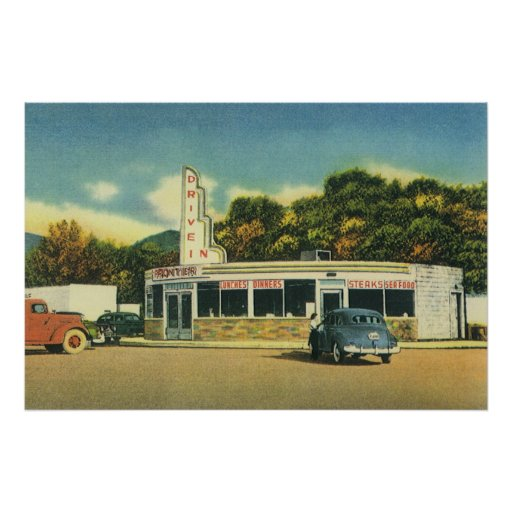 Vintage Restaurant, 50s Drive In Diner and Cars Posters