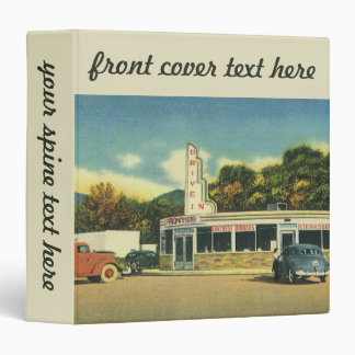 Vintage Restaurant, 50s Drive In Diner and Cars Vinyl Binders