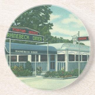 Vintage Restaurant, Retro Rhinebeck Roadside Diner Drink Coaster