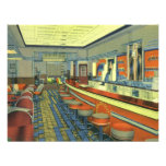 Vintage Restaurant, Retro Roadside Diner Interior Custom Invite