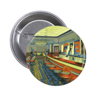 Vintage Restaurant, Retro Roadside Diner Interior Pinback Button