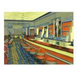 Vintage Restaurant, Retro Roadside Diner Interior Postcards
