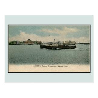 Vintage restored ca 1900 Antwerp Ferry Scheldt Postcard