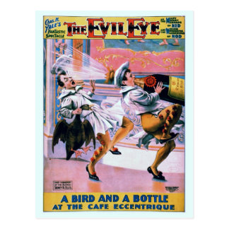 Vintage restored funny The Evil Eye theatre Postcard
