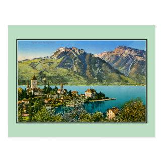 Vintage restored view of Spiez (Bern) Swiss Alps Postcard