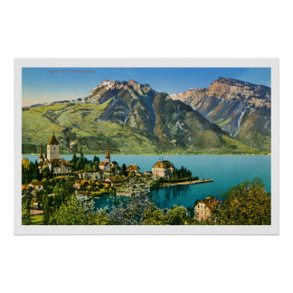 Vintage restored view of Spiez (Bern) Swiss Alps Poster