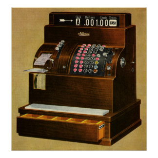Vintage Retail Business, Antique Cash Register Poster