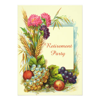 Vintage Retirement Party Colorful Fruits & Flowers Cards