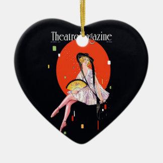 Vintage retro 1921 de la cubierta de la revista adorno de cerámica en forma de corazón