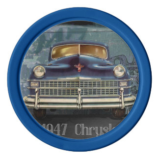 Vintage Retro 1947 Chrysler Car, Clay Poker Chips