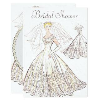Vintage Retro 1950 Blonde Bride Gown Bridal Shower Card