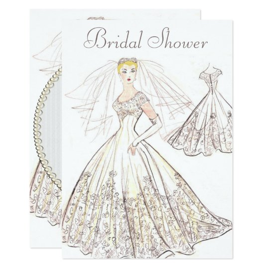 ac5cac5e548 Vintage Retro 1950 Blonde Bride Gown Bridal Shower Invitation ...