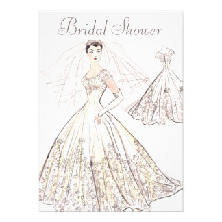Vintage Retro 1950 s Bride and Gown Bridal Shower Invites