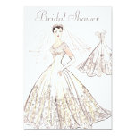 Vintage Retro 1950's Bride and Gown Bridal Shower 5x7 Paper Invitation Card