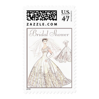 Vintage Retro 1950's Bride and Gown Bridal Shower Postage Stamp