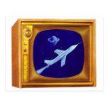 Vintage Retro 50s Color TV Set Kitsch with Rocket Post Card