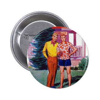Vintage Retro 50s Gay Men Bob and Rob Pinback Button