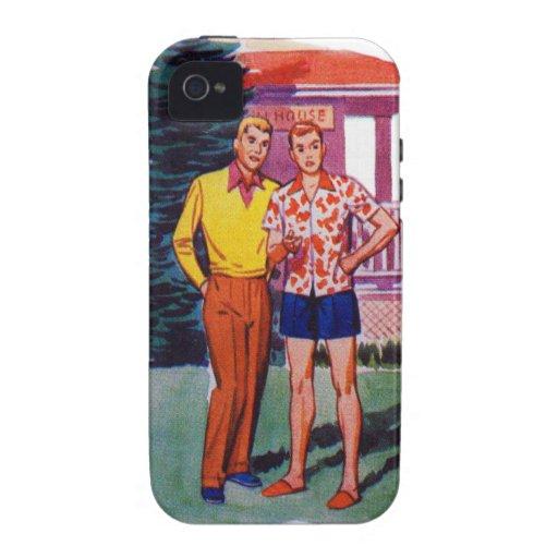 Vintage Retro 50s Gay Men Bob and Rob Vibe iPhone 4 Case