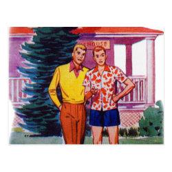 Vintage Retro 50s Gay Men Bob and Rob Postcard