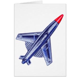 Vintage Retro 50s Jet Airplane Rocket Club Pin Greeting Card