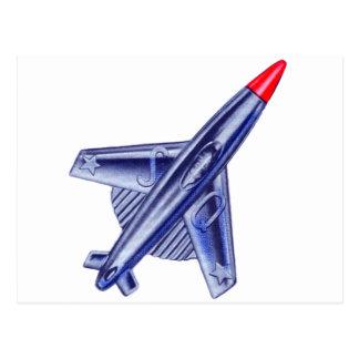 Vintage Retro 50s Jet Airplane Rocket Club Pin Postcard