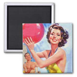 Vintage Retro 60s Beach Ball Girl Kitsch 2 Inch Square Magnet