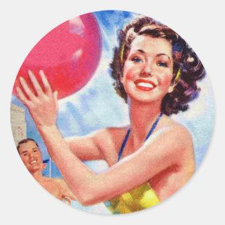 Vintage Retro 60s Beach Ball Girl Kitsch Classic Round Sticker