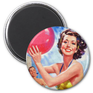 Vintage Retro 60s Beach Ball Girl Kitsch Magnet